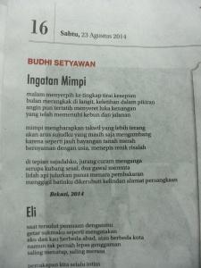 Rubrik HariPuisi Koran Indopos 23 Agustus 2014