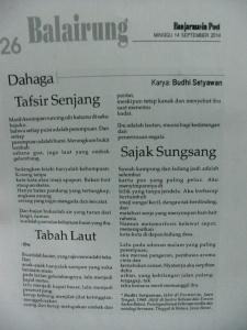 Banjarmasin Post 14 September 2014 (halaman Balairung rubrik Dahaga, foto dari olahan file pdf)